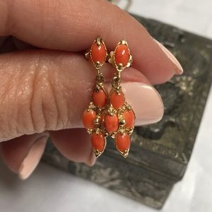Jewelry - Vintage Natural Coral And 14K Gold Earrings